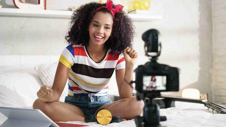 social influencer girl recording